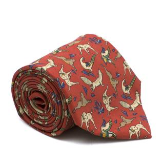 Salvatore Ferragamo Animal Print Silk Tie