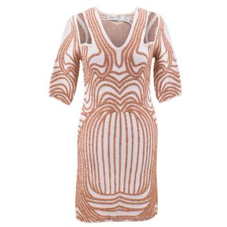 Alice McCall Monument Cream/Bronze Bodycon Dress