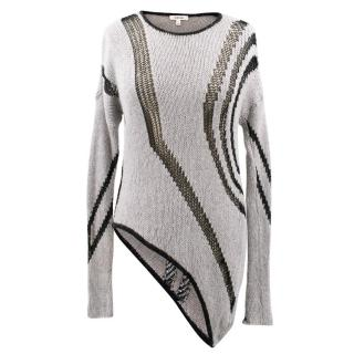 Helmut Lang Asymmetrical Black and Grey Jumper