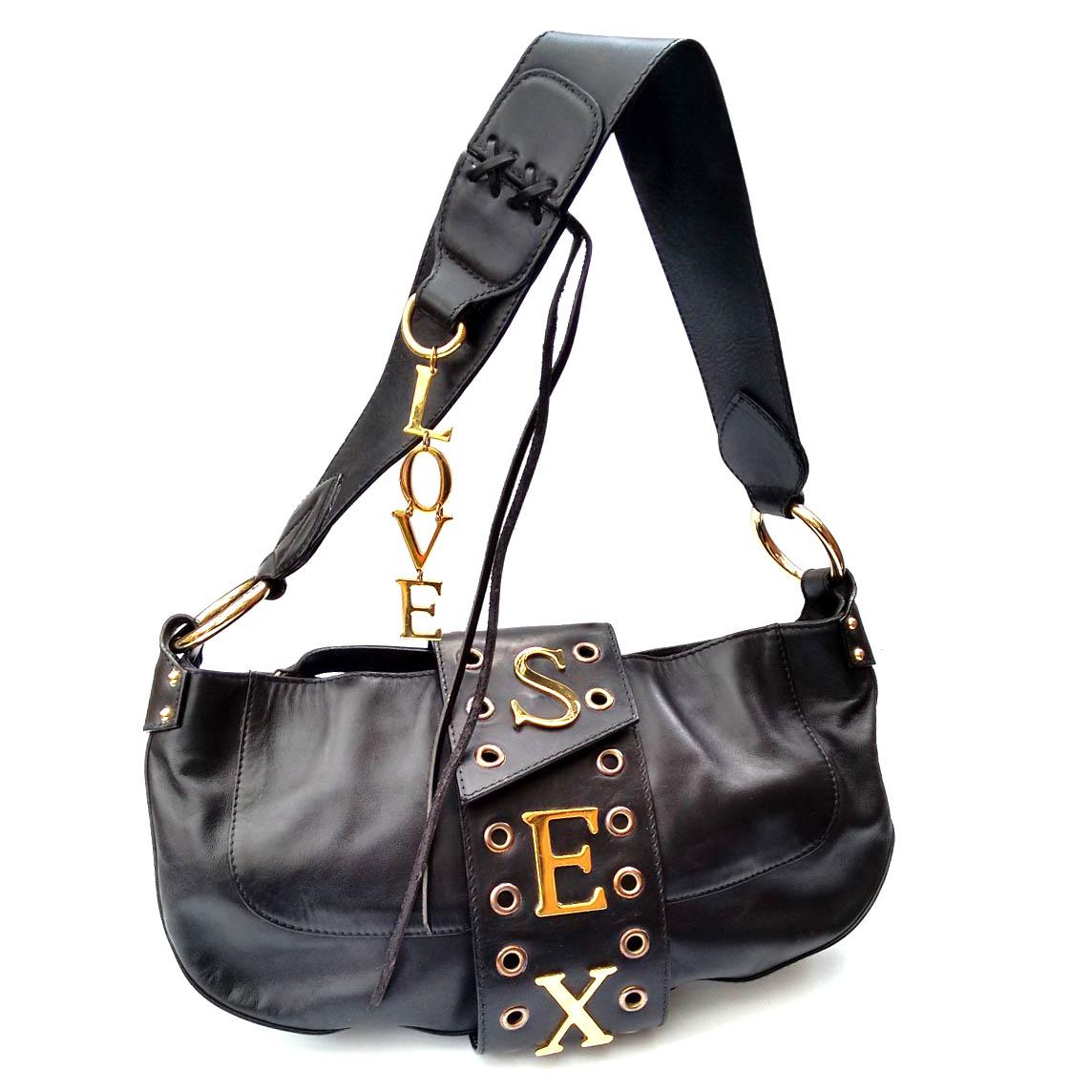 464e3f124c167 D & G DOLCE GABBANA Vintage Sex and Love Black Leather Shoulder Bag