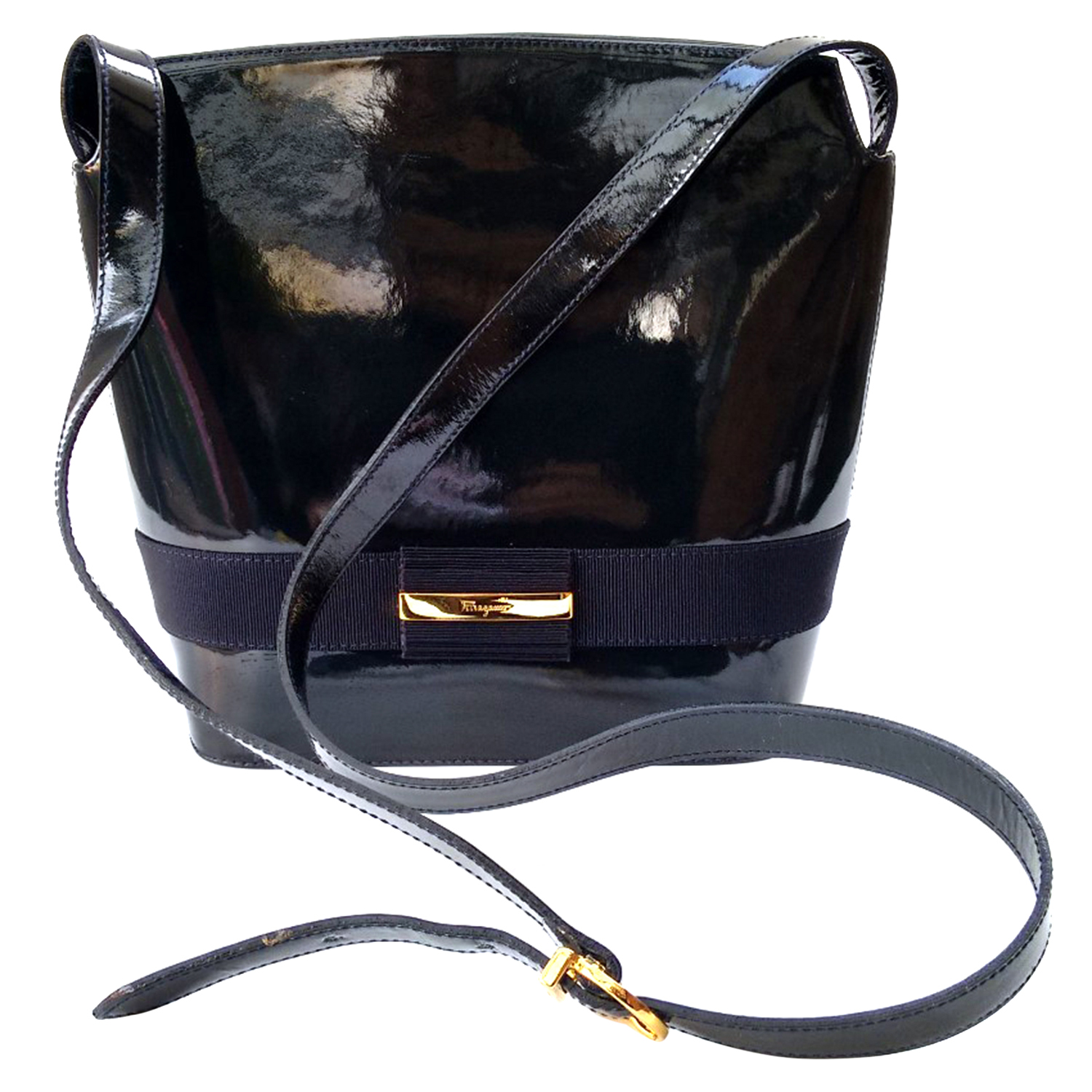 7894e50cf2 Salvatore Ferragamo Vintage Navy Patent Leather Shoulder Bag