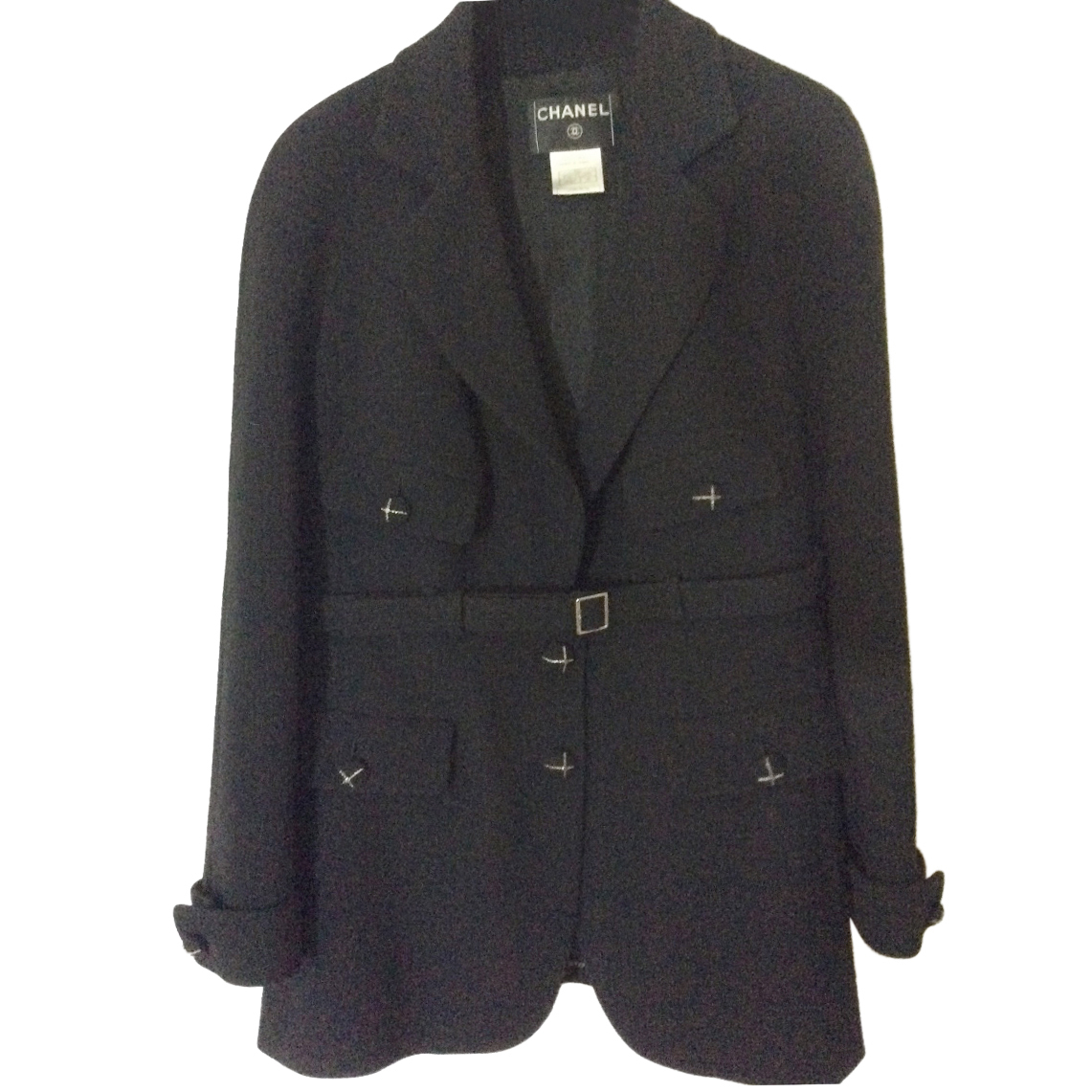Chanel classic black belted jacket