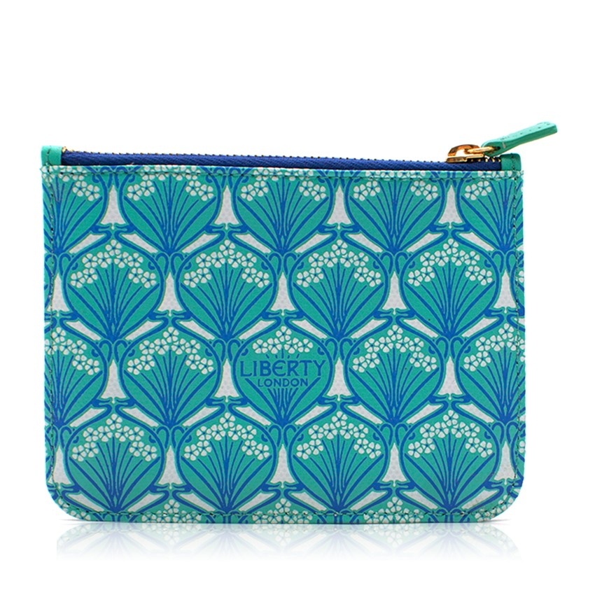 Liberty Green and Blue Floral Leather Embossed Coin Purse