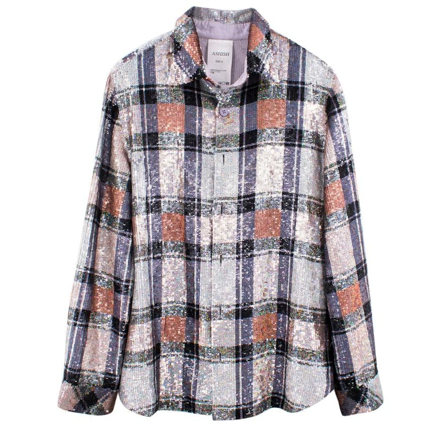 Ashish Checked Sequin-Embellished Shirt  - SS18
