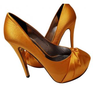 Gina orange satin shoes pumps 4