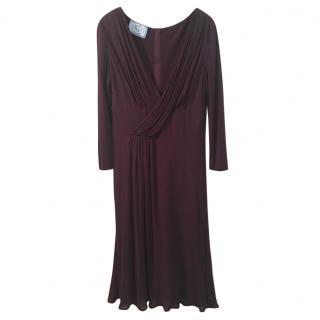 Prada burgundy draped dress