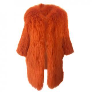 Raccoon/fox orange fur coat