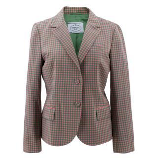 Prada Green and Pink Check  Wool Blazer