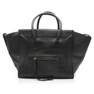 Celine Black Crocodile Print Leather Phantom Luggage Tote