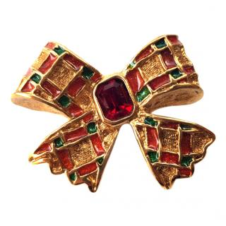 YSL Yves Saint Laurent Vintage Gold Tone Bow Brooch .