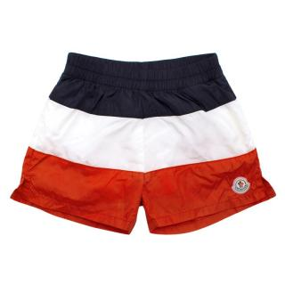 Moncler Blue White and Red Striped Swim Shorts