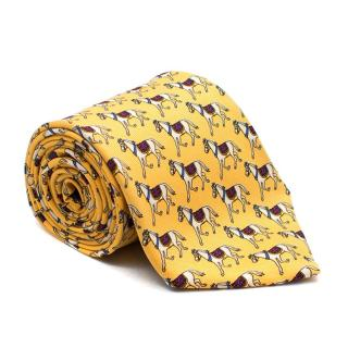 Brooks Brothers Yellow Horse Pattern Tie