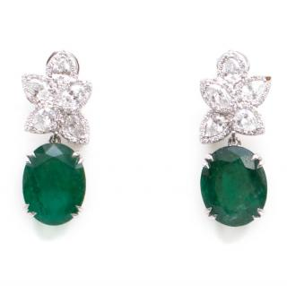 Bespoke 6.5 carat Emerald and 3 carat Diamond Pendant Drop Earrings