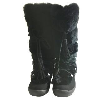 Bally Rabbit Fur Boots.