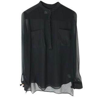Phillip Lim Black Sheer Blouse.