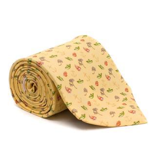 Salvatore Ferragamo Yellow Fish Patterned Tie