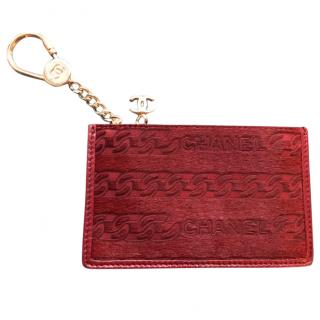 Chanel ponyhair and leather key and card holder