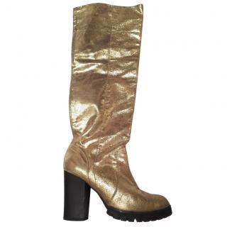 Fendi gold leather boots
