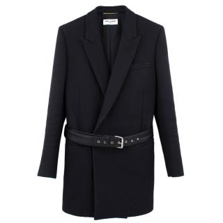 Saint Laurent Black Belted Herringbone Blazer