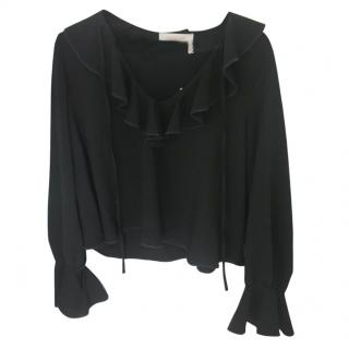 See By Chloe Black Ruffle-Trimmed Top.