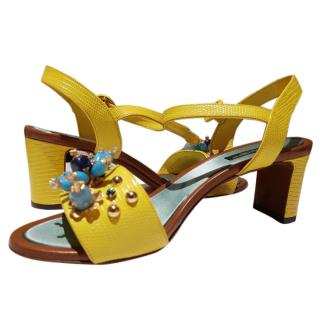 Dolce &  Gabbana yellow exotic leather sandals 6 39