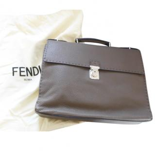 Fendi selleria leather briefcase