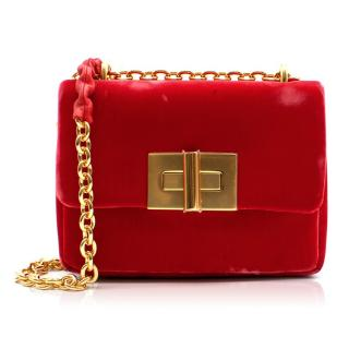 Tom Ford Natalia Small Red Velvet Shoulder Bag