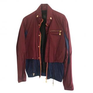 Versace men's burgundy/navy blue jacket