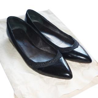 LANVIN Black Ribbon Pointed Flat Shoes