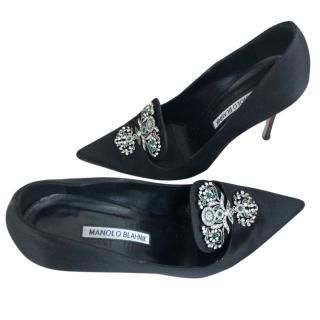 Manolo Blahnik Crystal Embellished Heels