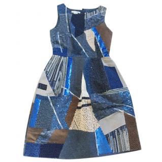 Oscar de la renta blue sequinned patch dress