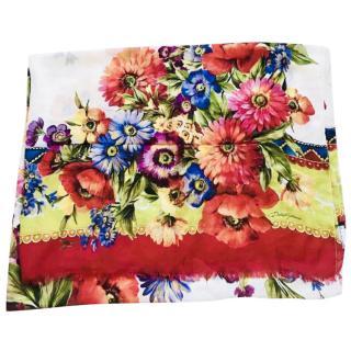 Dolce & gabbana cashmere blend floral scarf