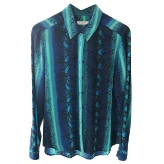 Equipment blue animal print silk blouse
