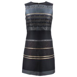Victoria Victoria Beckham Black Metallic Striped Dress