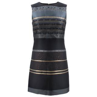 Victoria Victoria Beckham Black Metallic Striped Dress