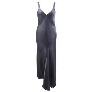 Tibi Liquid Liquid Navy Viscose Amoret Bias Dress
