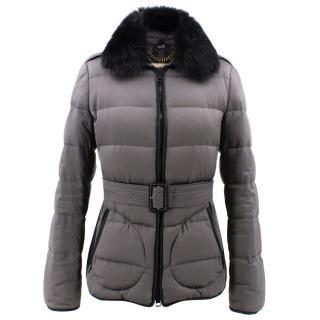 Burberry Grey Belted Fur Collar Puffer Jacket