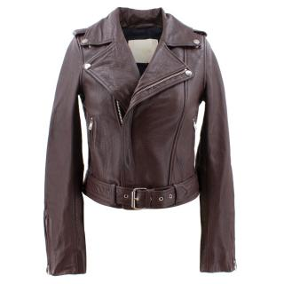 Maje Burgundy Leather Jacket with Belt