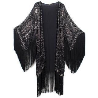 Roberto Cavalli Fringed Beaded Silk-chiffon Jacket