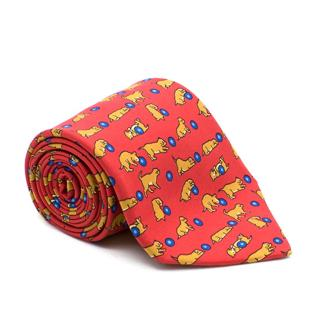 Hermes Red Silk Puppies Playing Ball Tie