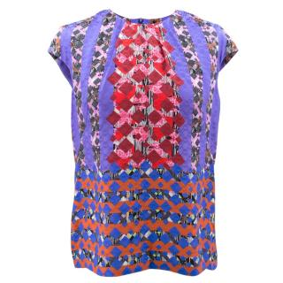 Peter Pilotto Digital Print Silk Top Blouse
