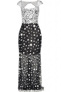 Marchesa Notte black and white floral applique Gown