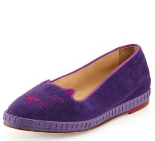 Charlotte Olympia purple kitty capri shoes 6 39