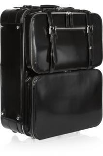 Moncrief Glossed-leather detachable-case travel trolley