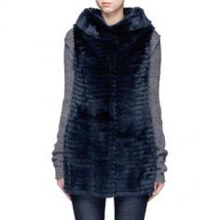 Yves Salomon Sleeveless hooded Rex Rabbit vest