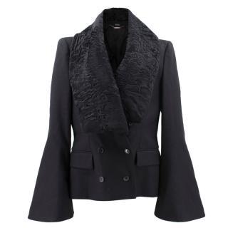 Alexander McQueen Blazer Jacket with Shearling Collar