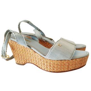Chanel denim wedges espadrilles shoes size 39  UK6
