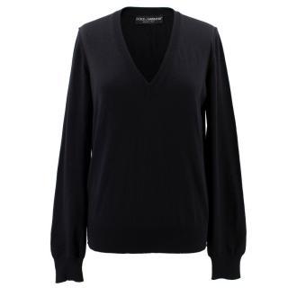 Dolce & Gabbana Black V Neck Jumper