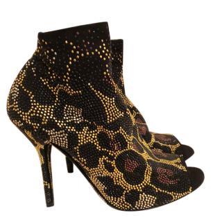 Dolce & Gabbana sequin leopard print ankle boots