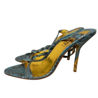 Gianni Versace turquoise and gold snakeskin evening shoes
